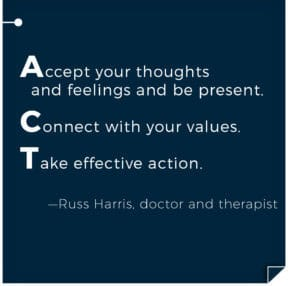 Accept your thoughts and feelings and be present, Connect with your values, Take effective action. Acceptance and Commitment Therapy ACT