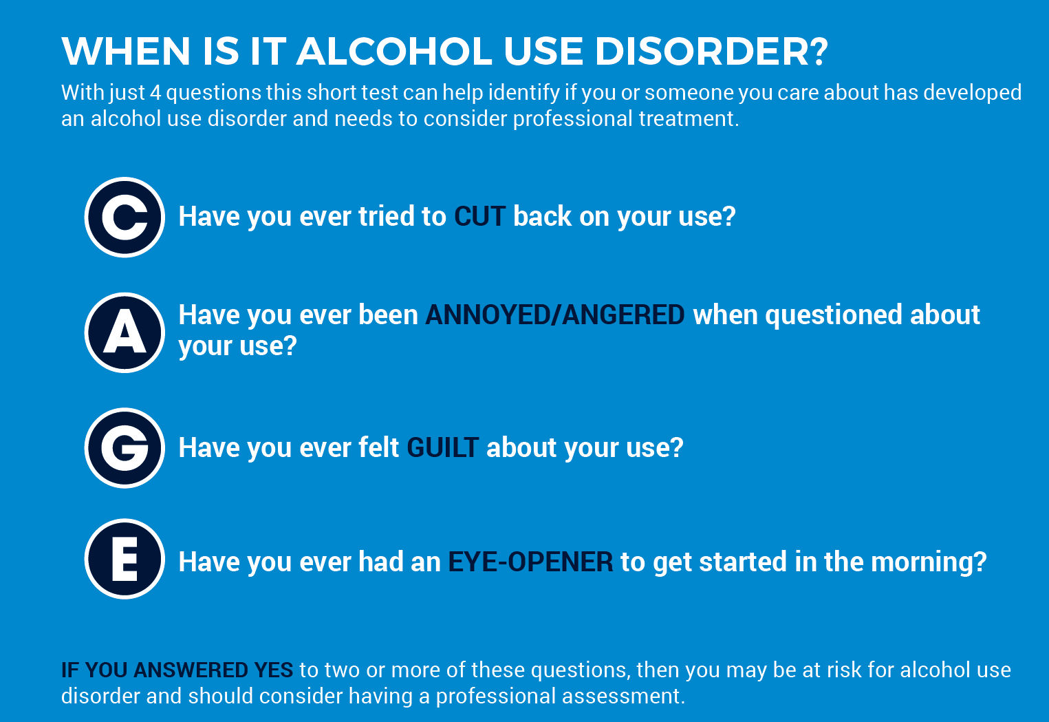 CAGE alcohol use disorder